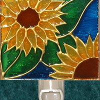Sunflower Night Light Hand Painted Sun Flower Kitchen Garden Decor and Stained Glass Wall Art Decorative Nightlight Harvest Gold Royal Blue