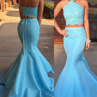 Halter Blue Mermaid Sleeveless Prom Dresses,Prom Dress