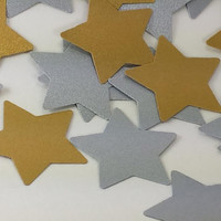 100 Silver And Gold Die Cut Stars, Small Metallic Star Punches, Silver And Gold Party Decor, Christmas Die Cuts