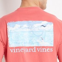 Embossed Whale Graphic Pocket T-Shirt