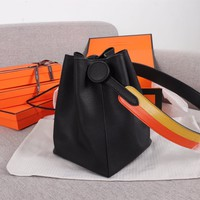 HCXX 19June 287 Hermes Licol Casual Evercolor Leather Fashion Bucket bag black