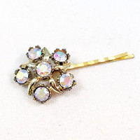 Rhinestone flower hair pin, pink flower hair pin, flower bobby pin, gold bobby pin, rhinestone bobby pin, gold hair pins, flower hair clip
