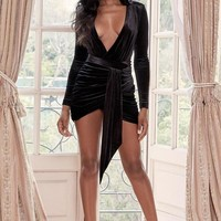 Deep V Neckline Black Velvet Mini Dress