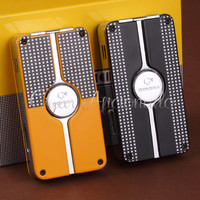 COHIBA Behike Classic Gadgets High Quality Metal Windproof Triple Torch Jet Flame Cigar Cigarette Lighter W Cigar Punch