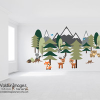 Large forest wall decal, nursery decals, nursery wall decal, tree wall decal, nursery decor, animal wall decal, fox wall decal, owl decal