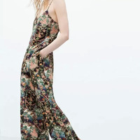 Floral Print Wide Leg Pants With Pocket