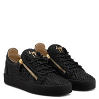 Giuseppe Zanotti Gz Frankie Black Python-embossed Calfskin Leather Low-top Sneaker