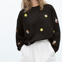 Smiling face Embroidered Sweater