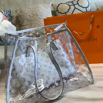 LV Monogram printed transparent jelly bag two-piece set