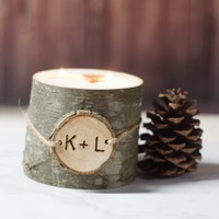 Personalized Log Candle Holder