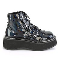 "Emily 315 Goth Black Holo Patent Heart Stud Multiple Strap 2"" Platform Ankle Boots"