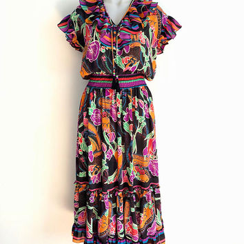 DIANE FREIS!!! Vintage 1980s 'Diane Freis' ruffled georgette party dress with multicoloured striped and floral print