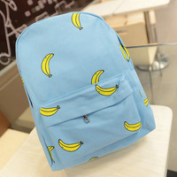Blue Banana Print Backpack