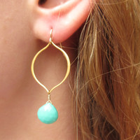 Arabesque Earrings with Chrysoprase Accents