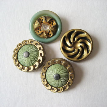 4 Large Fancy Celluloid Buttons Pierced Variety