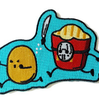 """""""French Fried Jason"""" Funny Horror Film Parody - Novelty Iron On Patch Applique HS P - CHL - 0052"""