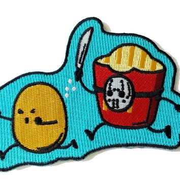 """French Fried Jason"" Funny Horror Film Parody - Novelty Iron On Patch Applique HS P - CHL - 0052"
