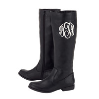 Monogrammed Tall Boots