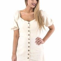 Women's Button Front Dress with Puff Sleeves
