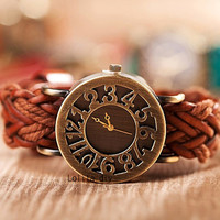 Woven leather restoring ancient ways is hollow-out header bracelet watch - ms watches - Christmas gifts