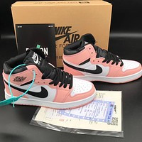 NIKE Air jordan 1 Mid se patent aj1 color stitching casual shoes Pink&White