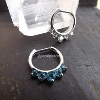 16g Septum Piercing Nose Ring Hinged Ring Clear Gems Cluster Prong Aqua Color CZs Clicker Helix Body Jewelry Gemstones Daith Tiny Small