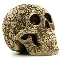 Halloween Home Bar Table Grade Decorative Craft Human Skull Resin Mask Cluster Flower Human Skeleton Skull Decoration With Box