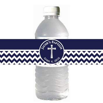 Baptism Favors First Holy Communion Water Bottle Labels Boy Navy Blue Chevron Cross Religious Confirmation Printable - 052