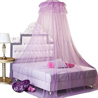 HOSL Round Lace Curtain Dome Bed Canopy Netting Princess Mosquito Net (Purple)
