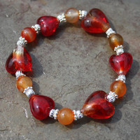 Hearts of Gratitude Carnelian and Red Glass Heart Bracelet with Silver Accents