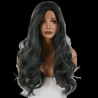Smokey Dark Grey Long Body Wave Synthetic Lace Front Wig