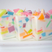 Confetti Soap - Summer Soap - Handcrafted Glycerin Soap - Raspberries, Peaches, Magnolias, Rainbow soap