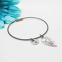 Mother Bracelet - Mother Bangle - Initial Charm - Mother Jewelry - Initial Bracelet - Custom Bracelet - Mother Charm Bracelet Bangle