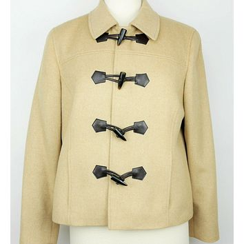 TALBOTS Size 10 p - TAN BEIGE 100% CAMEL HAIR WOOL PEACOAT JACKET TOGGLE BUTTONS