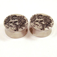 Bertha Double Flared Surgical Steel Plugs 00g 10mm by EarEmporium