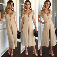 Women'S V-Neck Short Sleeve Jumpsuit
