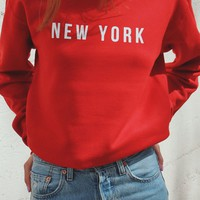 New York Oversized Sweatshirt - Red