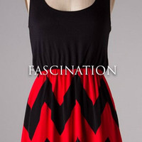 Show Time Chevron Short Dress - Red and Black