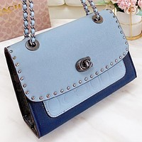 Samplefine2 COACH Fashion New Pattern Leather Chain Shoulder Bag Women Crossbody Bag Blue