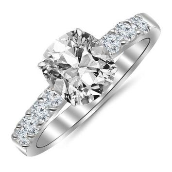 CERTIFIED GIA | 1.04 Carat Cushion Cut/Shape 14K White Gold Classic Prong Set Diamond Engagement Ring 4 Prong with a 0.53 Carat, J Color, SI1 Clarity Center Stone (Platinum, Yellow, White, Rose)