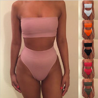 Sexy strapless nude two piece high waist bikini off shoulder