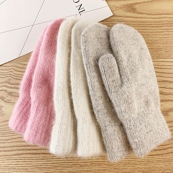Angora Mittens, Double Lined