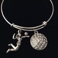 Spike It Volleyball Girl Charm on a Silver Expandable Bracelet Adjustable Silver Wire Bangle Sports Team Gift Trendy Handmade