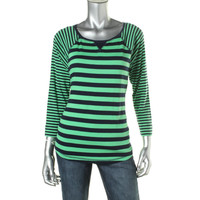 American Living Womens Knit Striped Pullover Top