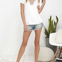 Solid V Neck Lace Up Front Short Sleeve Casual Top