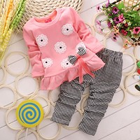 Girls clothes Baby Girl Clothing Set Children Flower Bow Cute Suit Kids Twinset Top T Shirt +Plaid Pants Leggings