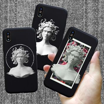 Soft silicone For iphone 7 case Medusa Vaporwave Glitch Art Coque Phone For IPhone 5s SE 6 6s 8 Plus X S R Max case cover