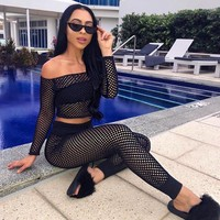 New Matching Tracksuit 2 Piece Sets Cozy Beach Women Summer Outfits Off the shoulder Fishnet Crop Top and Pencil Slim Long Pants