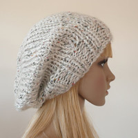 Slouch beanie - Hand knit hat in white and multi colored flecks - slouchy hat - Unisex