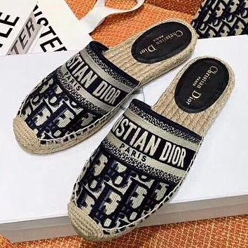 DIOR New color embroidered fisherman's shoes slippers